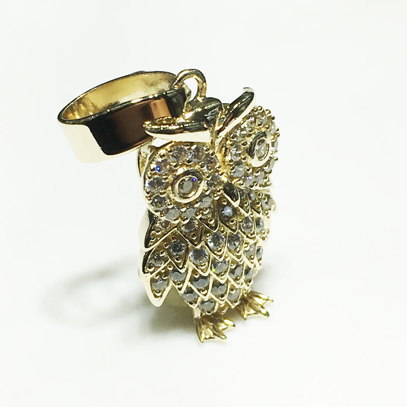 Iced-Out Great Horned Owl Pendant 14K