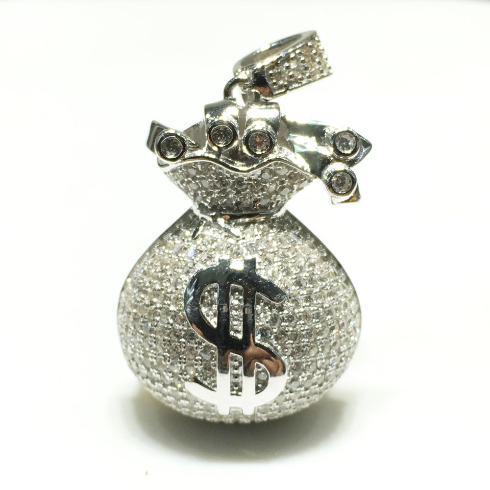 Iced-Out Money Bag Pendant (Model 2) (Silver) - Popular Jewelry