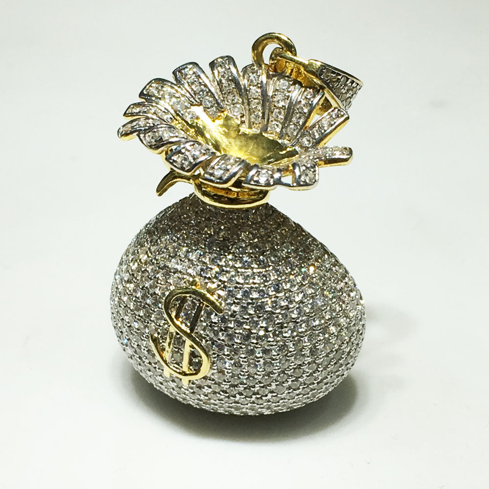 Iced-Out Money Bag Pendant (Silver)