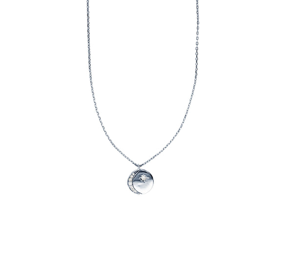 Crescent Moon Circle Necklace (Silver)
