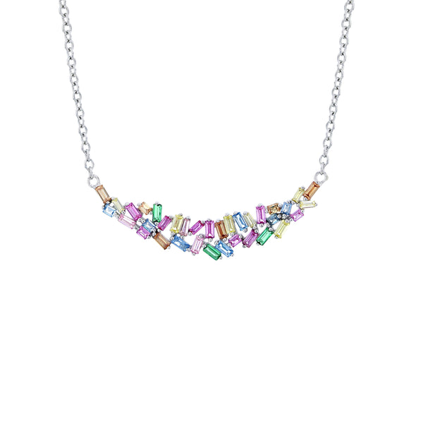 Multi-Color Baguette Cz Necklace (14K)