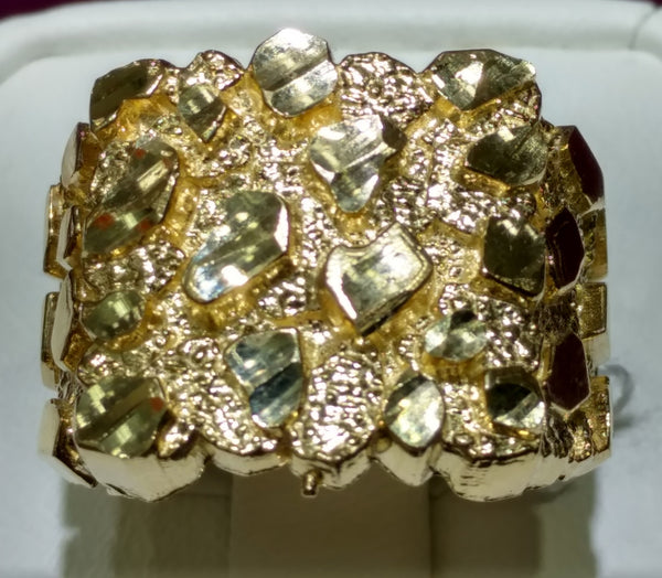Gold Nugget Style Men's Ring 14K - Popular Jewelry