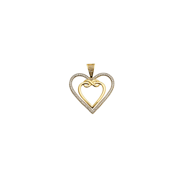 Double Open CZ Heart Pendant (14K)