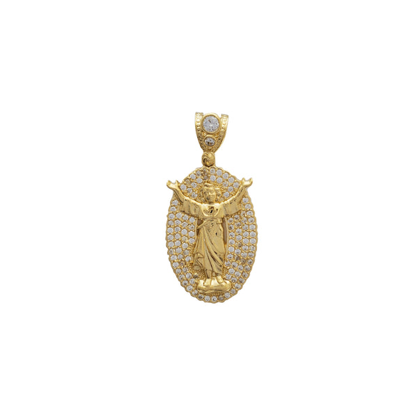Iced Out Oval Baby Jesus Pendant (14K)