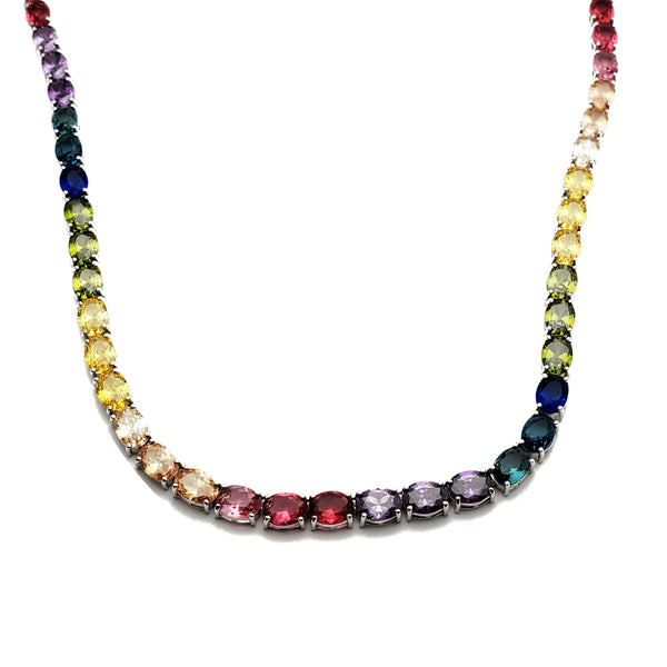 Oval Shape Multi-color Tennis Chain (Silver)