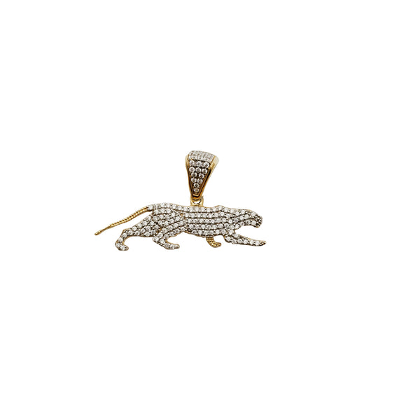 Yelow Gold Iced-Out Panther Pendant (14K)