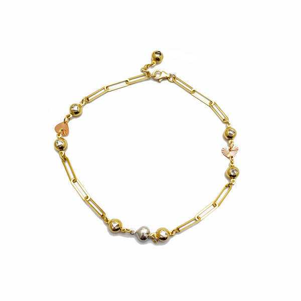 Zirconia Charms Paper Clip Link Anklet (14K)