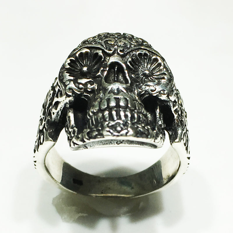Antique Floral Skull Ring (Silver) - Popular Jewelry