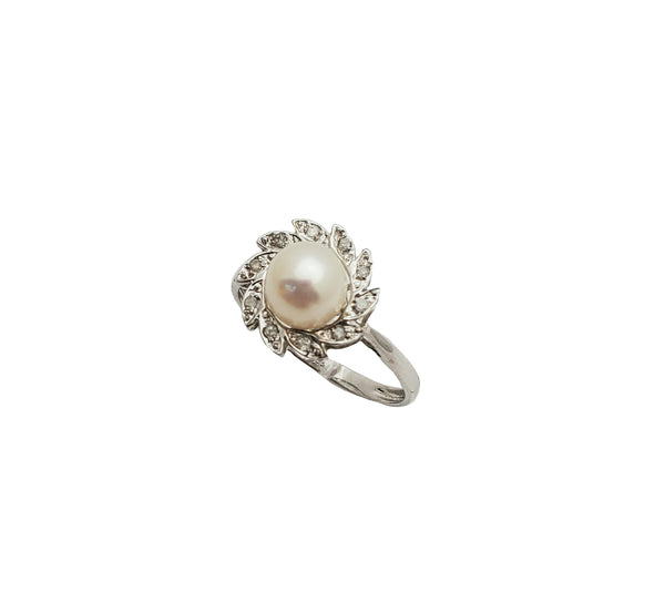 Diamond Flower Pearl Ring (14K)
