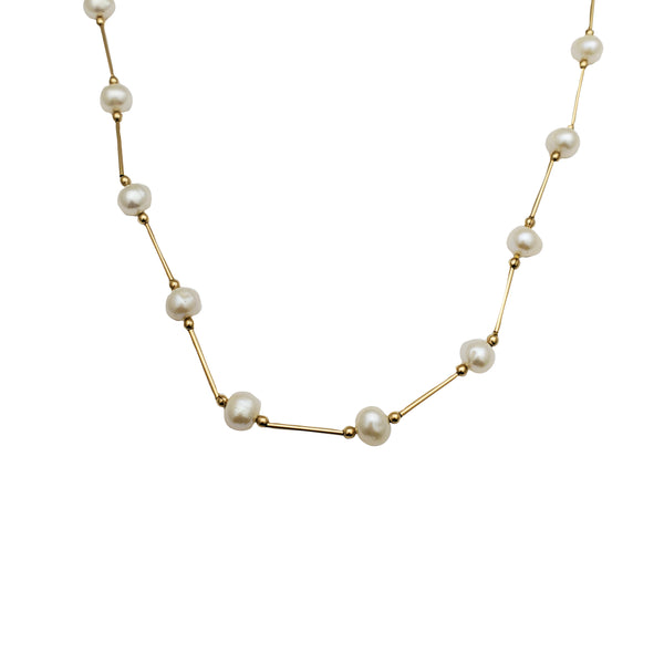 Yellow Gold Pearl Necklace (14K)