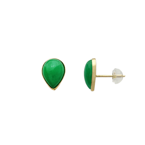 Teardrop Shape Jade Stud Earrings (14K)