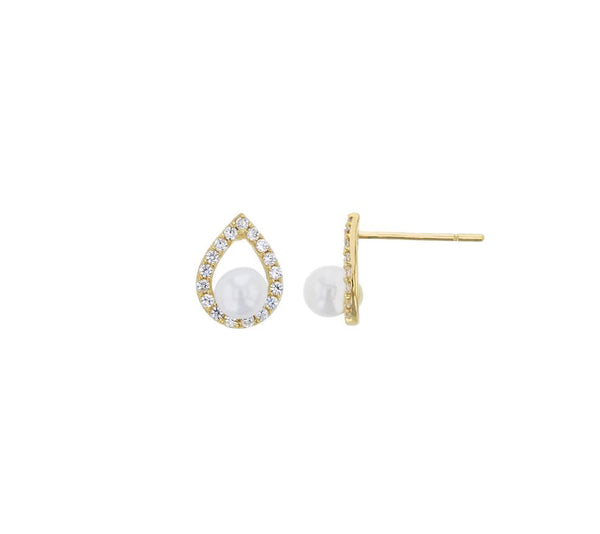 Pear Shaped Pearl Stud Earrings (14K)