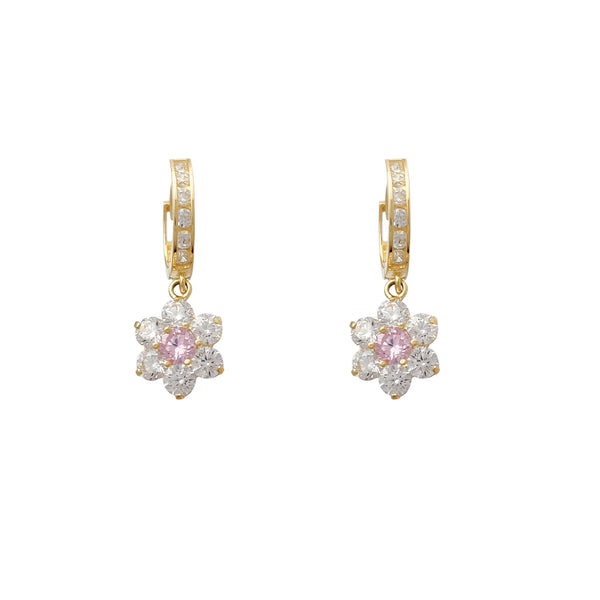 Flower Dangling Earrings (14K)