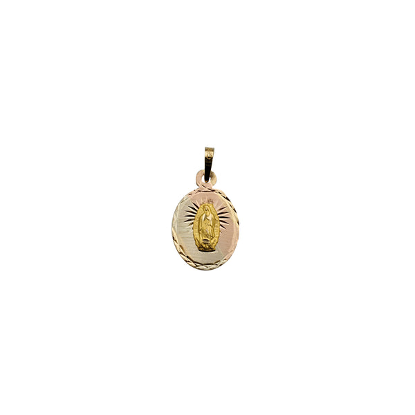 Oval Shape Tricolor Guadalupe Pendant (14K)