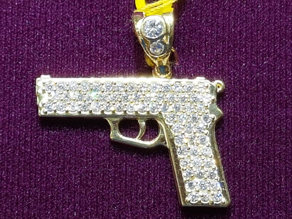 Iced-Out Pistol Pendant 10K - Popular Jewelry