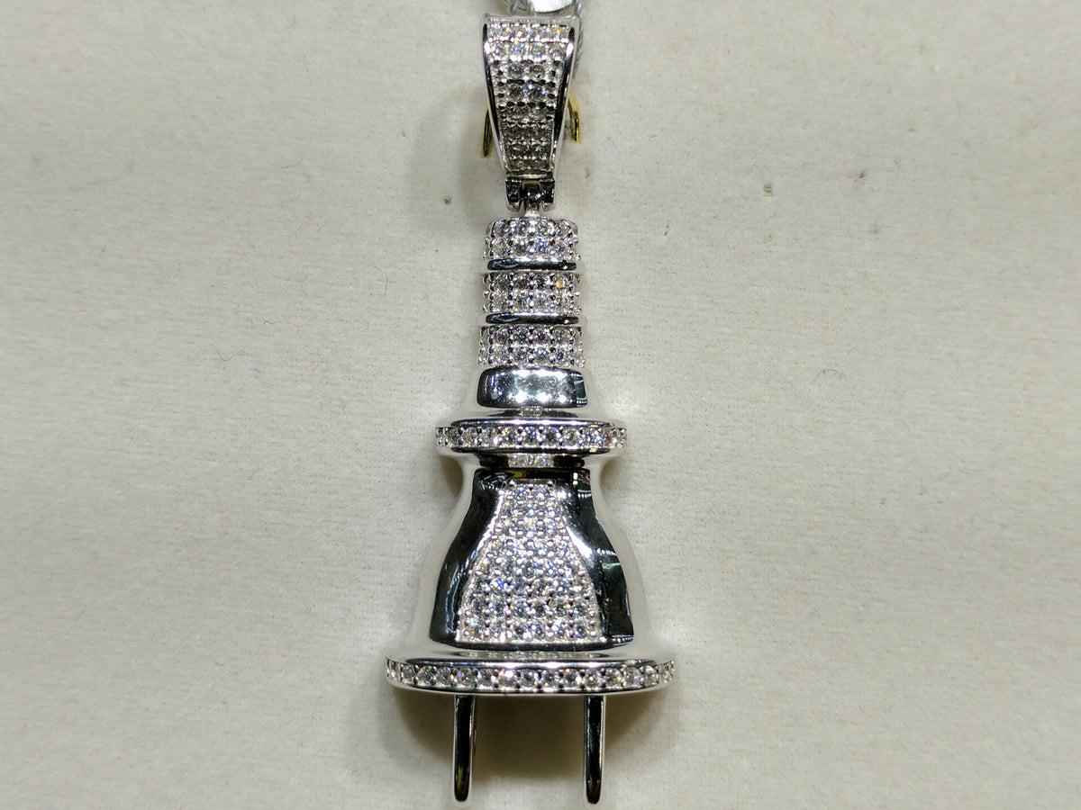 cbe738660 Iced-Out Plug Pendant Silver - Popular Jewelry