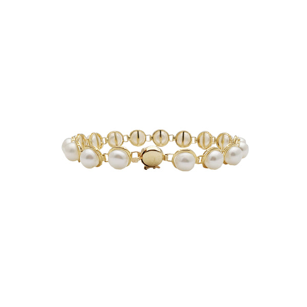 Yellow Gold Round Pearl Bracelet (14K)