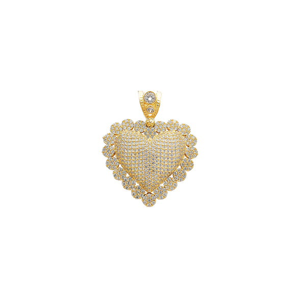 Iced-Out Puffy Heart Pendant (14K)
