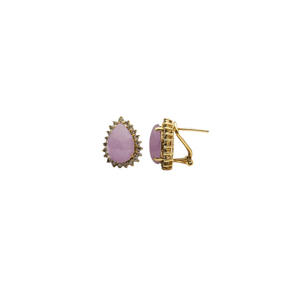 Yellow Gold Purple Jade & Diamond Earrings (14K)