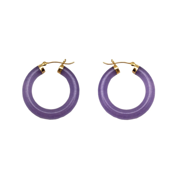 Purple Jade Hoop Earrings (14K)