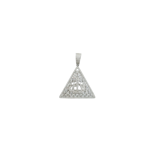 Iced-Out Pyramid Allah Pendant (Silver)