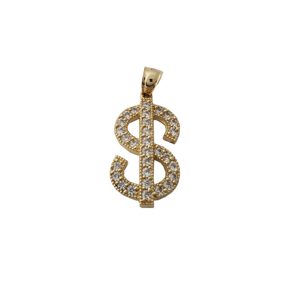 Iced-Out Dollar Sign Pendant (14K)