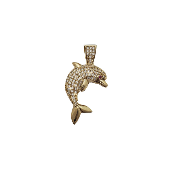 Iced-Out Dolphin Pendant (14K)