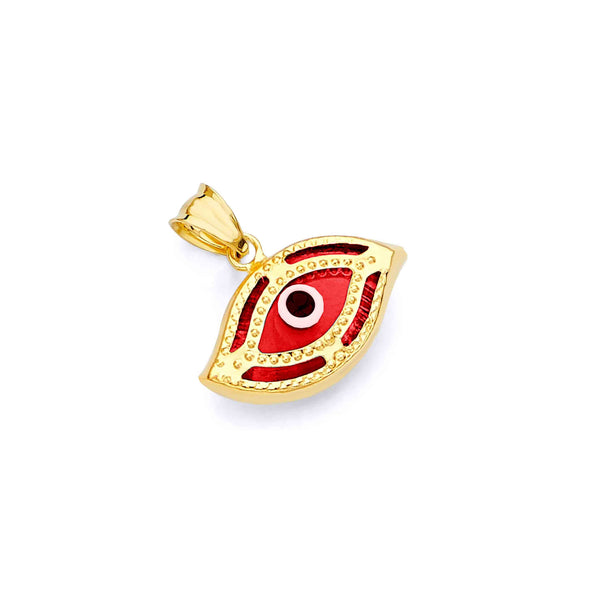 Yellow Gold Red Evil Eye Pendant (14K)