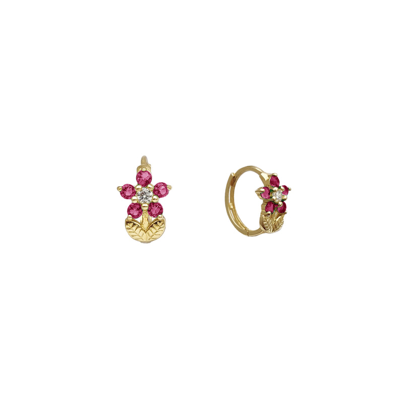 Rose Huggie Earrings (14K)