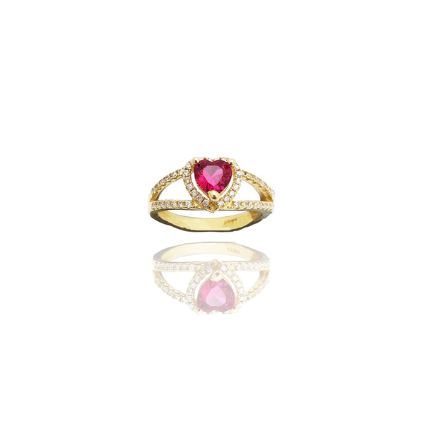 Hearts Pave Cubic Zirconia Ring (14K)