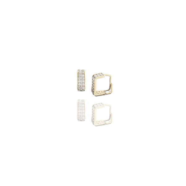 Rectangle CZ Huggie Earrings (14K)