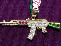 AK47 Rifle Multicolor Colgante 14K - Lucky Diamond 恆福 珠寶 金 行 New York City 169 Canal Street 10013 Bitxigintza Playboi Charlie Chinatown @luckydiamondny 2124311180