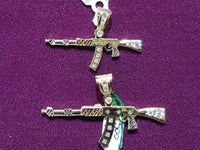 AK47 Rifle Tricolor Pendant CZ Polished Finish 14 Karat Gold Size Comparison - Popular Jewelry
