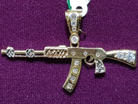 AK47 Rifle Tricolor Pendant CZ Polished Finish 14 Karat Gold - Popular Jewelry
