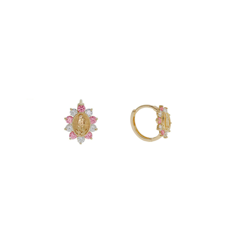 Saint Lazarus Stone-Set  Huggie Earrings (14K)