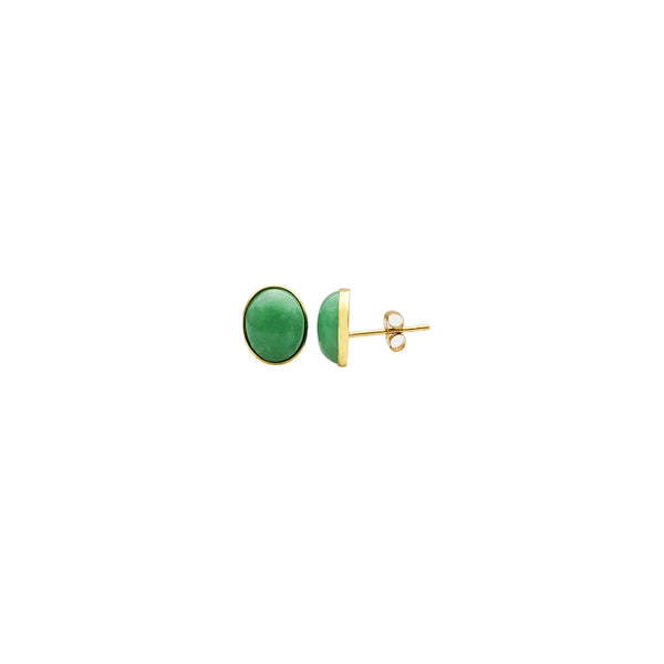 Yellow Gold Round Jade Earrings (14K)