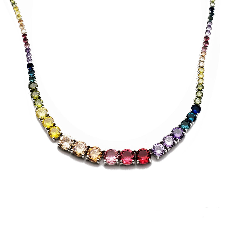 Round Shape Multi-color Tennis Chain (Silver)