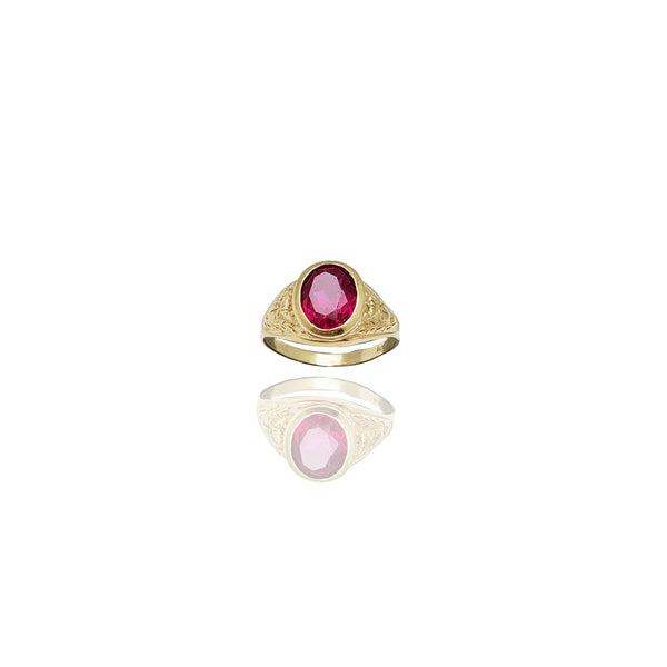 Oval Red Stone Men's Nugget Ring (14K)