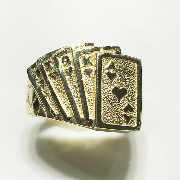 Ir-Royal Flush of Hearts Ring (14K) - Popular Jewelry