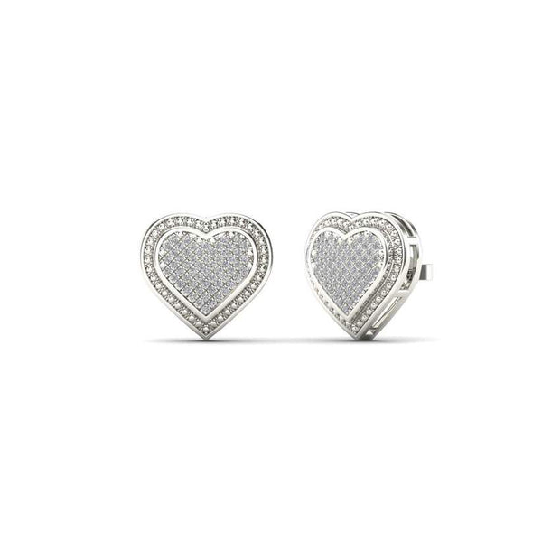 Diamond Heart Pave Stud Earrings (14K)