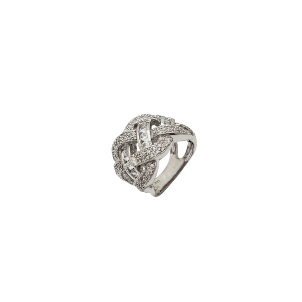 Iced-Out Criss Cross Ring (Silver)