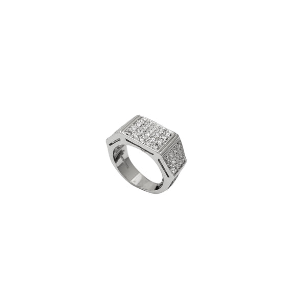 Square Shape CZ Ring (Silver)