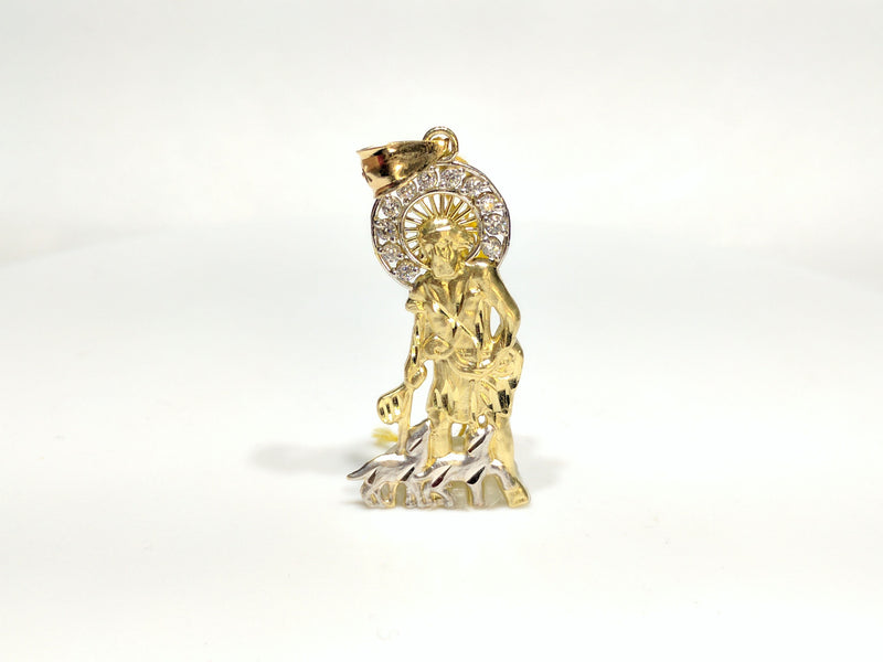 products/saint_lazarus_san_lazaro_10_karat_yellow_gold_two_tone_pendant_cubic_zirconia_halo_small_size_50_mm_standing_front_view_Popular_Jewelry_New_York_City_web_product.jpg
