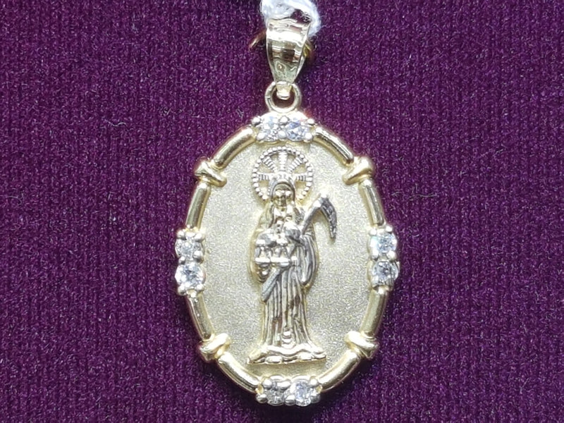 Naka-frame nga Santa Muerte White Gold Halo 14K - Popular Jewelry