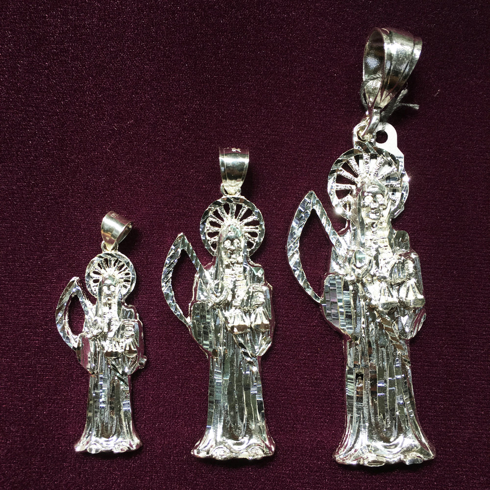 Santa Muerte; Classic Polished Finish (Silver) - Popular Jewelry