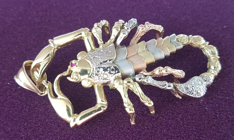 Scorpion Pendant Tricolor 14K - Popular Jewelry