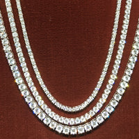 Tennis Chain Sterling Silver Cubic Zirconia Prong Setting - Popular Jewelry