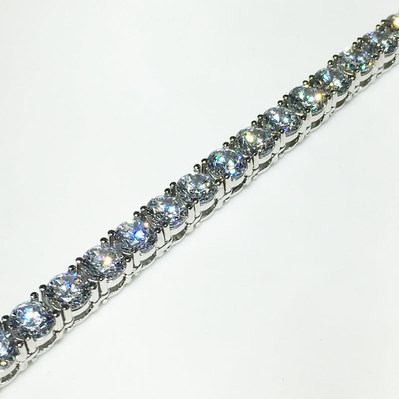 Tennis Bracelet Sterling Silver Cubic Zirconia Prong Setting - Popular Jewelry