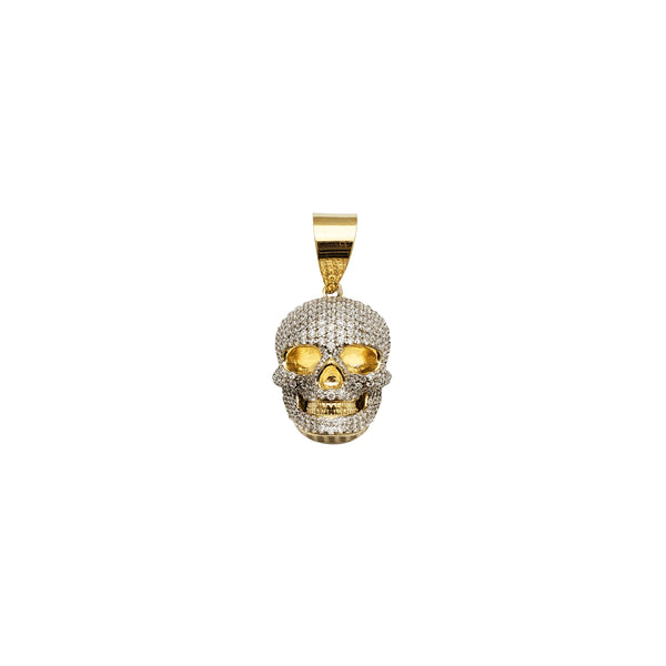 Yellow Gold 3D Iced-Out Skull Pendant (14K)