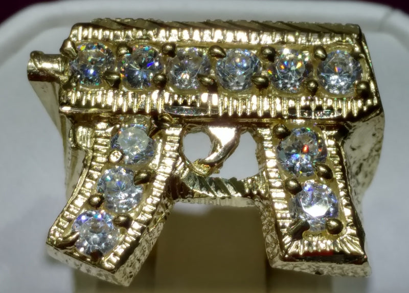Icy Submachine Gun Ring 10K - Popular Jewelry